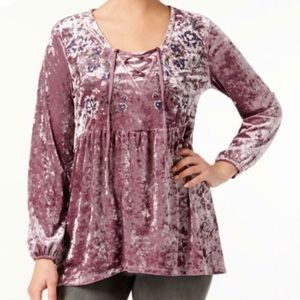 Style & Co Light Purple Crushed Velvet Boho Blouse